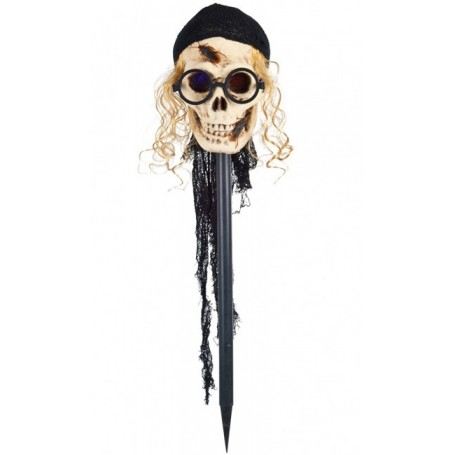 Skull on a stake with hair, glasses, roaches and scarf - 75cms