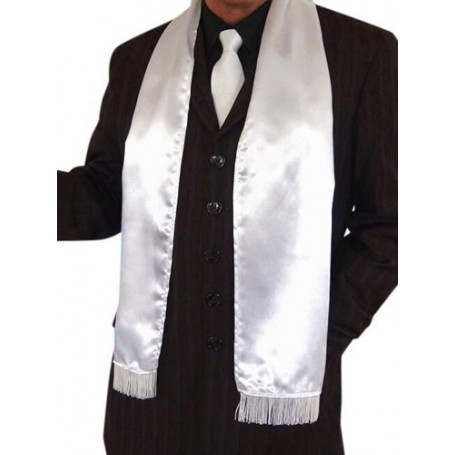 Gangster White Fringed Scarf