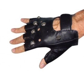 Black Vinyl Punk Gloves - (1 Pair)