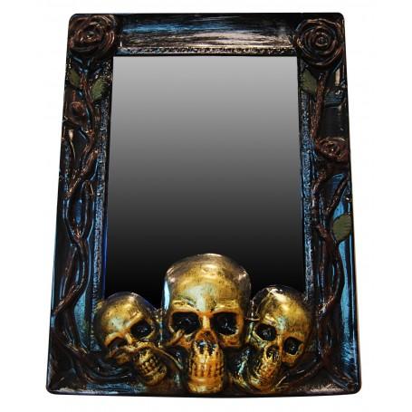 Skull Mirror Prop - Gold Trim