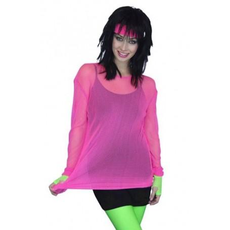 80s Fishnet Top - Pink - Unisex