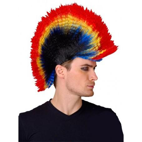 Punk Mohawk Wig - Rainbow/Black