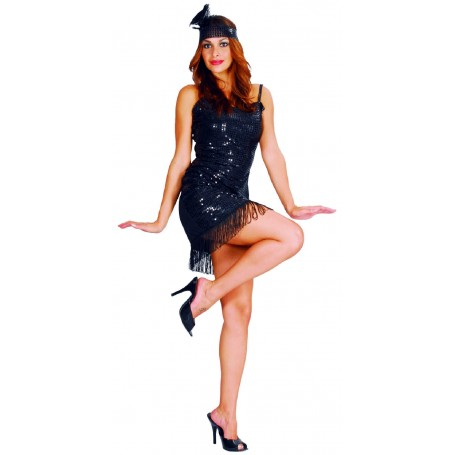 Flapper Girl Black Dress - Adult Medium