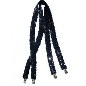 Trouser Braces/Suspenders - Black Sequin