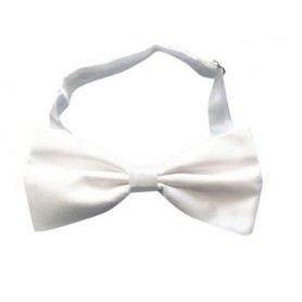 White Satin Adjustable Bow Tie