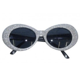 70S Silver Groovy Glitter Sunglasses