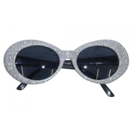 70S Silver Groovy Glitter Sunglasses