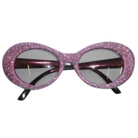 70s Groovy Pink Glitter Sunglasses