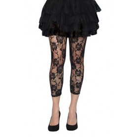 Lace Footless Tights - Black