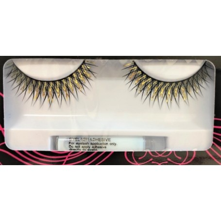 Black Lashes with Gold Tinsel