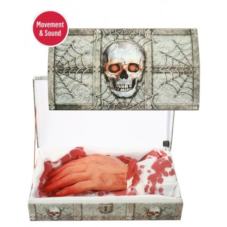 Moving Bloody Hand Skull Gift Box