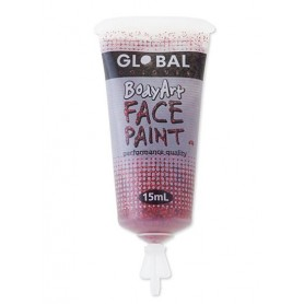 Red Glitter Face Paint - 15mL Tube