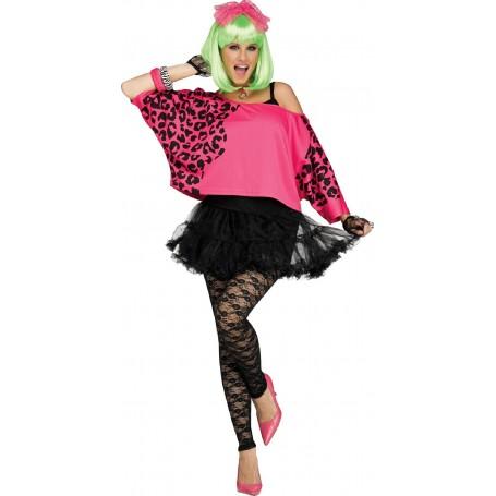 80s Crop Top - Neon Pink