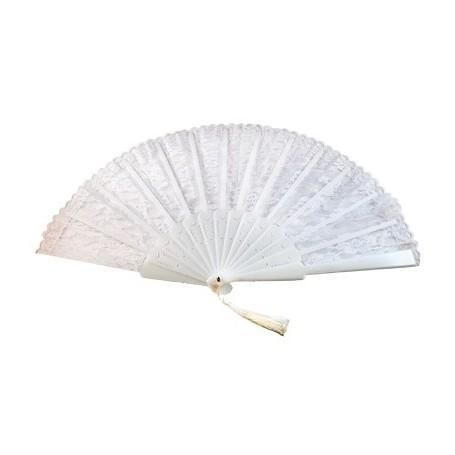 Lace Fan with Tassel - White