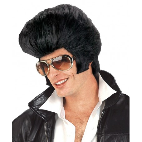 Oversized Rock n Roll Elvis Wig - Black