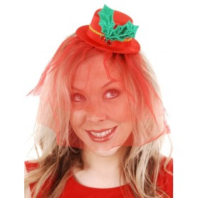 Christmas Mini Red Fascinator Hat