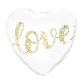 Love Glitter Heart White And Gold