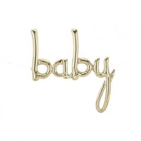 Baby Script Foil Balloon - White Gold