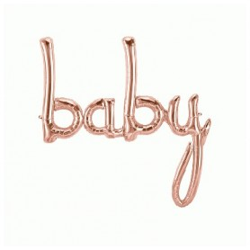 Baby Script Foil Balloon - Rose Gold
