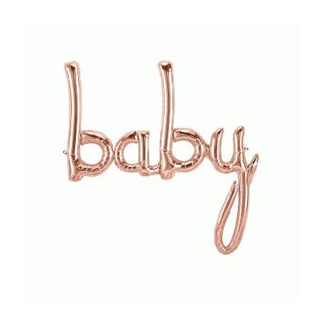 Baby Script Foil Balloon - Rose Gold