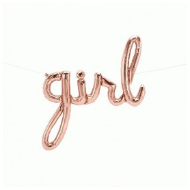 Girl Script Foil Balloon - Rose Gold