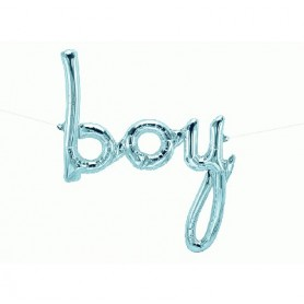 Boy Script Foil Balloon - Pastel Blue