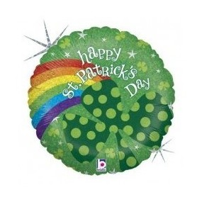 Holographic St Patrick's Day Rainbow - Foil Balloon 18in.