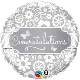 Congratulations Foil Balloon - Butterflies and Flowers 18in.
