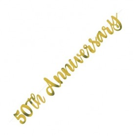 50th Anniversary Gold Script Jointed Foil Banner - 3ft