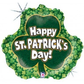 Holographic St Patrick's Day Shamrock - Foil Balloon 18in.