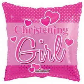 Christening Girl Pink - Foil Balloon 18in.