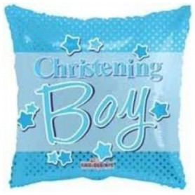 Christening Boy Blue - Foil Balloon 18in.