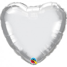 Chrome Foil Heart 18in. - Silver
