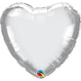Chrome Foil Heart 18in. - Silver