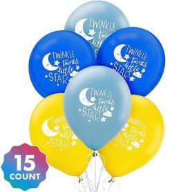 Baby Shower Twinkle Twinkle Little Star Balloons - 15 Pack