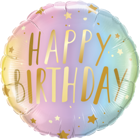 Happy Birthday - Pastel Ombre with stars  Foil Balloon 18in.