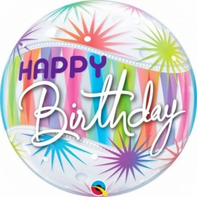 Happy Birthday Sorbet Starburst - Bubble Balloon 22in.