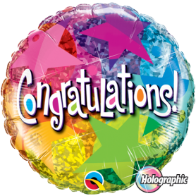 Holographic Congratulations Foil Balloon - Star Pattern.