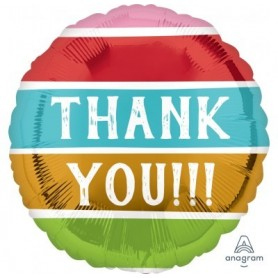 Thank you - 18 inch Foil Balloon Striped Colours