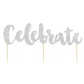 Celebrate - Silver Glitter Cake Topper