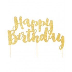 Happy Birthday - Gold Glitter Cake Topper