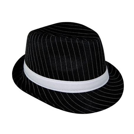 Pinstripe Gangster Hat - Black