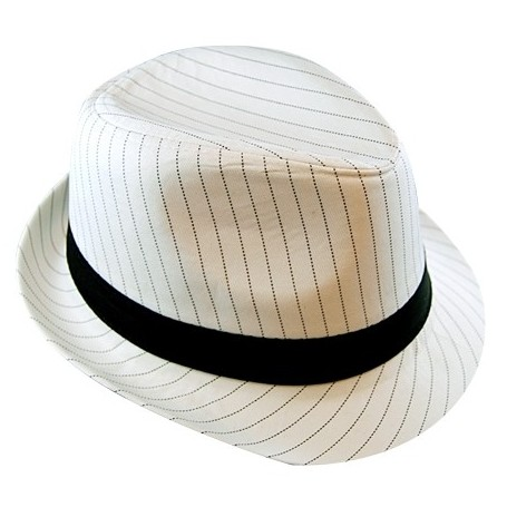 a969389c0 Pinstripe Gangster Hat - White