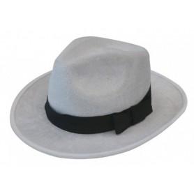 Deluxe Velour Gangster Hat - White
