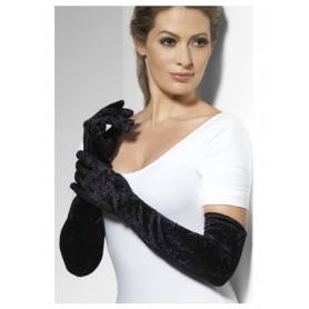 Gloves - Long Black Velveteen