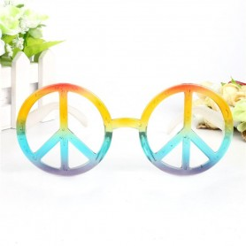 Rainbow Peace Sign Glasses - Hippie