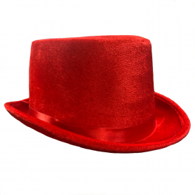 Velvet Top Hat - Red