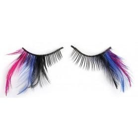 Party Eyelashes - Black, Blue & Pink Feathers