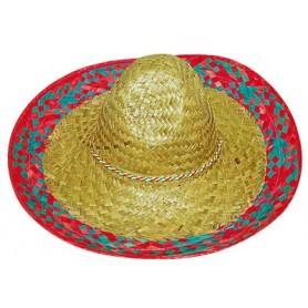 Mexican Sombrero - Natural w/Blue Trim