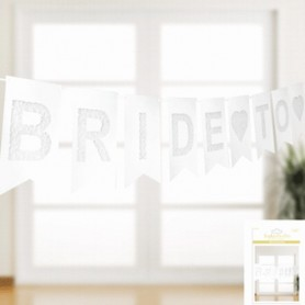 Bride To Be Lace Style Bunting Flags - White (RIBBON NOT INCLUDED)